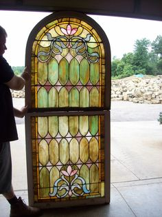 Double Hung Stained Glass Landing Window SG 1458   eBay