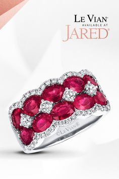 It'll melt a heart when you put it on a hand. Natural Rubies set off the Vanilla Diamonds on this decadent Le Vian ring that will make any moment sweeter! Ruby Stone, Diamond Stone, Diamond Jewelry, Gemstone Jewelry, Le Vian, Rings For Her, Natural Ruby, Beautiful Rings, Fashion Rings