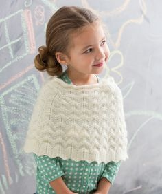 Red Heart: Knit Girl's Poncho (free pattern). @courtneylowe1 -- do you think Eleanor would wear something like this?