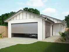 Facade with remote opening garage door, and semi enclosed carport. Colour scheme shown is Powered Rock.