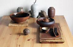 Tea ceremony set / Woodfired ceramics / Tea boat and tea stone by Miroslava Randova / Teacup by Petr Novak / Teapot by Martin Hanus