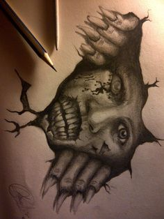 Creepy Drawings | Scary Wall by eddydreams on deviantART