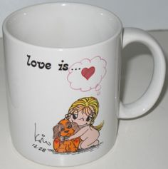 """Another coffee mug from the Love Is series. Vintage 1985, it reads, """"Love is...Someone New in Your Life.""""   #loveis #coffeemugs $29.95"""
