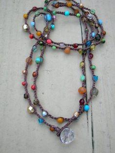 Surfer crochet wrap bracelet, beaded boho necklace. Colorful Bohemian beach jewelry, multi-color stones, hippie chic gypsy. $38.00, via Etsy.