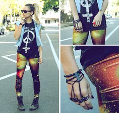 Roc Black Boots, Unif Peace Off Tank, Forever 21 Denim Diy Vest, Evil Twin Outer Limits Galaxy Leggings, Lotus Mendes Red Goddess Ring, Mojo Made Chain Glove, Ray Ban Wayfarer Sunglasses