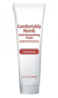 Comfortably Numb Anal Desensitizing Cream Cinnamon 1.5oz Comfortably Numb Anal Desensitizing Cream Cinnamon 1.5 fluid ounces tube. Comfortably Numb is a flavored desensitizing Cream specially formulated to reduce the discomfort associated with anal sex. This cream contains a mild numbing agent that coats the anus, helping to suppress and prevent discomfort during anal sex. Anal cream features and functions numbing. Country of Origin United States. Pipedream Products.
