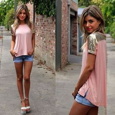 Pink sequined sleeve shirt with jean shorts and wedges