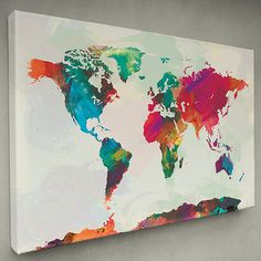 Watercolor World Map 12x18 Canvas Print by sunnychampagne on Etsy $40