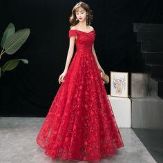 ca2cf69287 Moda Borgoña Vestidos de noche 2019 A-Line   Princess Fuera Del Hombro  Lentejuelas Con