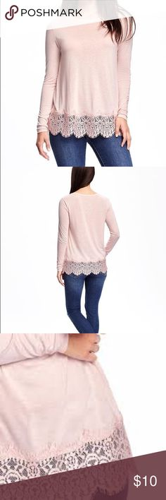 Lace-trim Top Light pink top from Old Navy. Great condition. Worn once, just wrinkled from storage. Old Navy Tops