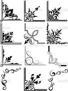 Discover thousands of images about Decorative Corner Frames royalty-free stock vector art Stencil Patterns, Stencil Designs, Stencils, Borders And Frames, Borders Free, Jugendstil Design, Free Graphics, Border Design, Glass Design