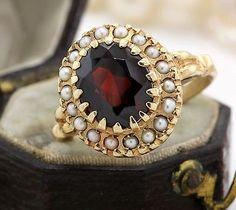 Antique-C-1900-Art-Nouveau-14k-Yellow-Gold-Bohemian-Garnet-Seed-Pearl-Ring