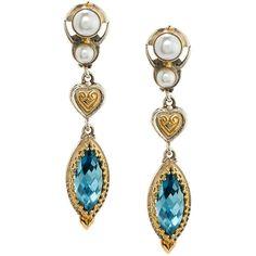 Konstantino Amphitrite Topaz & Double-Pearl Heart Dangle Earrings (3.150 BRL) ❤ liked on Polyvore featuring jewelry, earrings, blue, pearl dangle earrings, long pearl earrings, long earrings, heart earrings and post earrings