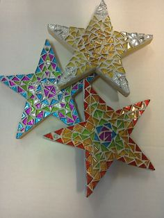 Mosaic Supplies Ltd precut star mosaic kits. Choose from glitter, rainbow and jewel. Suitable for adults and older children with supervision. Mosaic Kits, Mosaic Tile Art, Mosaic Crafts, Mosaic Projects, Mosaic Glass, Glass Art, Stained Glass, Christmas Mosaics, Christmas Crafts