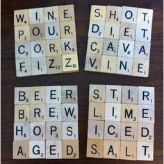 ooh scrabble coasters, a must have Scrabble Letter Crafts, Scrabble Coasters, Scrabble Art, Scrabble Tiles, Homemade Coasters, Diy Coasters, Crafts To Sell, Fun Crafts, How To Make Coasters