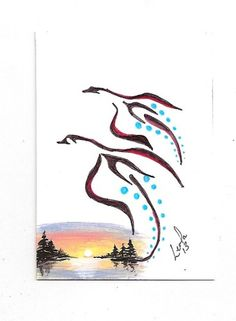 Aceo Geese Sunset Native First Nation Abstract Walker Ebsq Caat SFA ART Painting | eBay