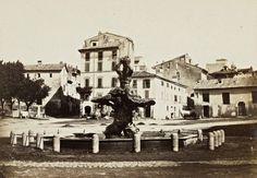 Piazza Barberini e la Fontana del Tritone Anno: 1862 ca Best Cities In Europe, Dolores Park, Street View, History, Painting, Rome Italy, Photos, Italia, War