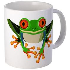 Colorful Tree Frog with Orange Eyes & Toes Mugs on CafePress.com