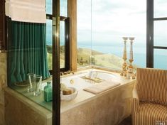 Large Plate-Glass Windows from Tub to Ceiling