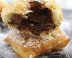 nutella filled chocolate beignets