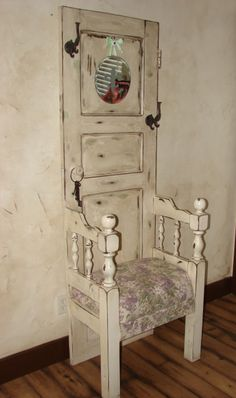 I made this hall tree from an old door and twin headboard. Vintage fabric and a … I made this hall tree from an old door and twin headboard. Vintage fabric and a fun pillow compliment the fab look! Refurbished Furniture, Fine Furniture, Repurposed Furniture, Furniture Projects, Rustic Furniture, Furniture Making, Furniture Makeover, Painted Furniture, Repurposed Shutters