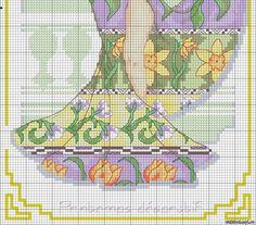 Боярышня в схемах вышивки крестом 120