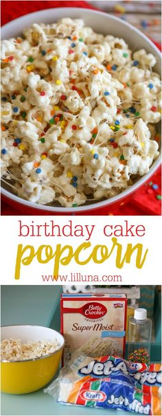 This Birthday Cake Popcorn - this sweet and salty gooey treat has a delicious cake batter flavor that is SO addicting! This Birthday Cake Popcorn - this sweet and salty gooey treat has a delicious cake batter flavor that is SO addicting! Birthday Cake Popcorn, Popcorn Cake, Popcorn Snacks, Flavored Popcorn, Sweet Popcorn Recipes, Popcorn Mix, Popcorn Balls, Gourmet Popcorn, Popcorn Flavours
