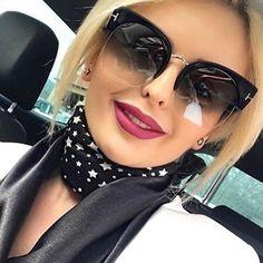 Only $7.42 , RSSELDN Newest Semi-Rimless Sunglasses Women Brand Designer Clear Lens Sun Glasses For Women Fashion Sunglass Vintage oculos