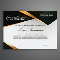 Certificate decorated with black shapes and golden lines Free Vector Certificate Layout, Certificate Background, Certificate Of Achievement Template, Certificate Of Completion Template, Certificate Design Template, Brochure Design Samples, Company Letterhead Template, Certificate Of Appreciation, Powerpoint Template Free