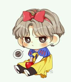 Snow White V Taehyung bts fanart Bts Chibi, Anime Chibi, Anime Kawaii, Bts Taehyung, Taehyung Fanart, Kpop Drawings, Cartoon Drawings, Chibi Tutorial, Fanart Kpop