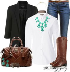 "I think nothing looks better or is more comfotabe than an oversized white button down shirt, jeans, and fabulous accesories. ""Bubble Necklace"" by sanchez-gaby on Polyvore"