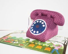 Purple cotton musical dial telephone and blue dial, lullaby with thread