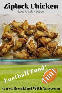 Make football food quick and easy with this ziplock chicken recipe. it's low carb keto friendly and a fan favorite in my house! Low Carb Lunch, Low Carb Keto, Low Carb Recipes, Healthy Recipes, Snack Recipes, Football Snacks, Sunday Meal Prep, Healthy Food Delivery, Chicken Wing Recipes