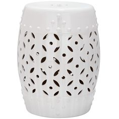 Featuring an openwork design and hobnail-inspired details, this ceramic garden stool seamlessly transitions from side table to ottoman to extra seating on th...