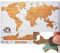 This Scratch Map is a special way to mark where you have traveled!  Scratch off where you have been and bright colors and fun facts are revealed- making this a personalized world map of the places you've been.