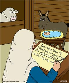 "It's myrrh-rific! - ""The Bent Pinky"" by Scott Metzger; Christian Cartoons, Christian Jokes, Christian Comics, Funny Christmas Jokes, Christmas Quotes, Christmas Puns, Christmas Images, Funny Cartoons, Funny Jokes"