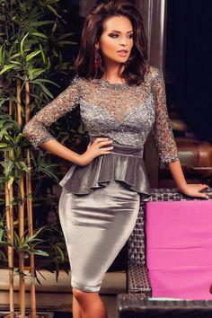 3/4 sleeves v-back sweetheart sequinned lace velvet peplum mini dress - SK boutique