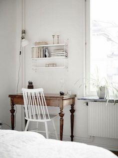 Love the natural, weathered wood against the white.