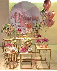 Girl Baby Shower Decorations, Birthday Party Decorations, Birthday Parties, Wedding Decorations, Birthday Balloons, Baby Shower Balloons, Deco Buffet, Gold Bridal Showers, Its My Bday