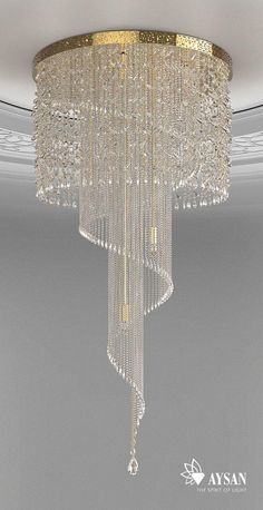 spiral crystal chandelier idea by aysan home decor ideas www aysan com homedec - All For Decoration Chandelier Design, Luxury Chandelier, Ceiling Design, Chandelier Lighting, Crystal Chandeliers, Crystal Decor, Crystal Lights, Interior Lighting, Home Lighting