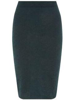 Teal jacquard pencil skirt