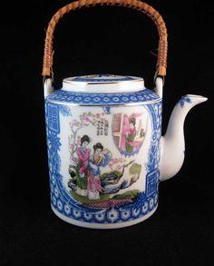 Vintage Japanese Tea Pot Geisha Blue & by WrappedRoundMyFinger
