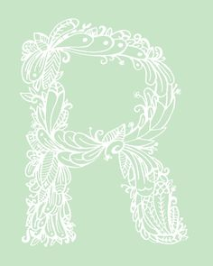 Mint Alphabet Letter R original illustration Print by ellolovey on @Etsy