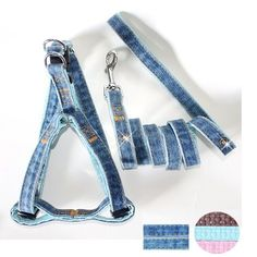 Fab Denim Resort Denim/Leather Padded Harness and Leash Set for Dogs - Denim/Blue Bell ** Learn more by visiting the image link.