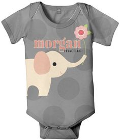 Personalized Elephant Baby Onesie