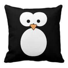 penguin bathroom accessories | Penguin Eyes Throw Pillow by RoamingRosie