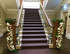 Beautiful staircase at Ashfield House dressed with stunning everlasting peonies, roses, hydrangea and ivy. Civil Ceremony, House Dress, Bridal Flowers, Hydrangea, Floral Wedding, Peonies, Ivy, Floral Design, Stylists