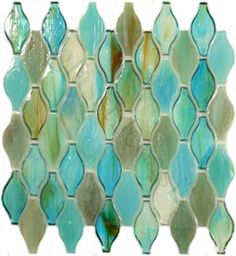 """Botanical Glass  1 3/8"""" x 3"""", Unique Shapes, Pacific Ocean, Glossy, Green, Glass - i don't know where, but it's pretty"""