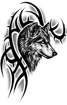 Realistic Wolf Head With Tribal Design Tattoo Sample