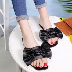 Bowknot Flat Heel Faux Leather Slippers